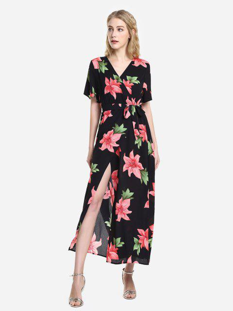 trendy ZAN.STYLE Short Sleeve Floral Print Surplice Dress - BLACK AND RED S Mobile