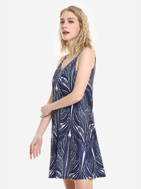 affordable ZAN.STYLE V Neck Causal Slip Dress - ROYAL XL Mobile