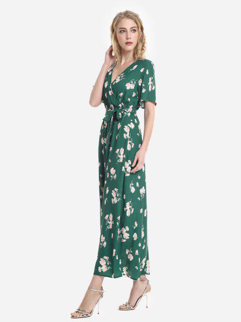 Vestito Floreale con Maniche Corte - Verde e Rosa XL Mobile
