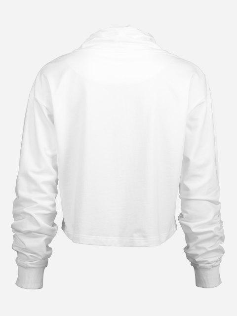 ZAN.STYLE Drawstring Cropped Hoodies - أبيض M Mobile