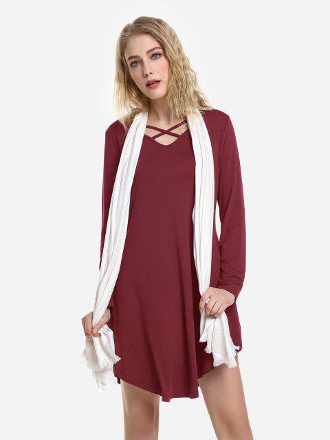 buy ZAN.STYLE Swing Dress - WINE RED XL Mobile