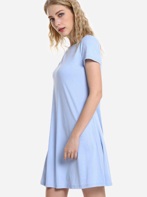 chic ZAN.STYLE Dolman T-Shirt Dress - LIGHT BLUE XL Mobile