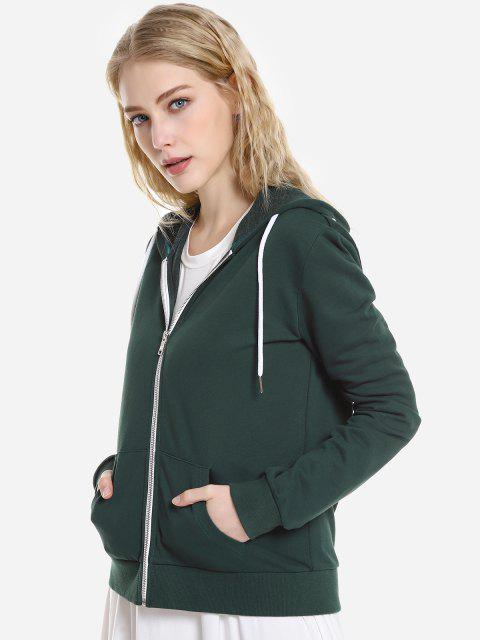 ZAN.STYLE Contrast Drawstring Zip Up Fleece Hoodie - 墨綠色 M Mobile