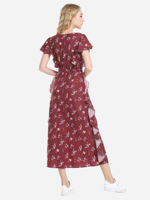 women ZAN.STYLE V Neck Ruffle Sleeve Dress - WINE RED L Mobile