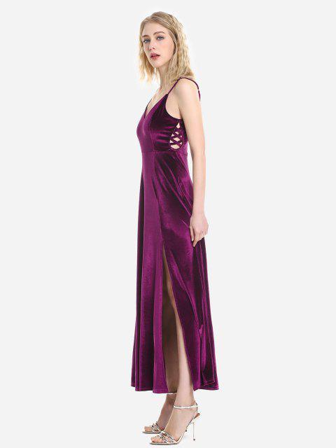 ZAN.STYLE Velvet Adjustable Strip Slip Dress - أحمر أرجوانى L Mobile