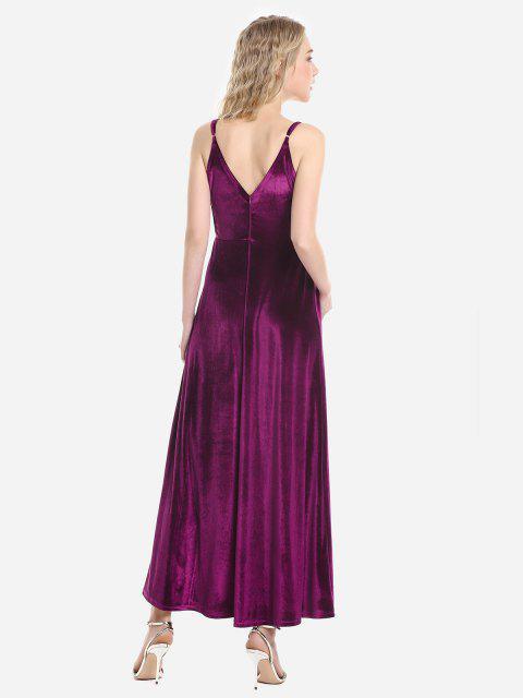ladies ZAN.STYLE Velvet Adjustable Strip Slip Dress - PURPLISH RED L Mobile