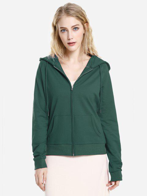 outfits ZAN.STYLE Full Zip Fleece Hoodie - BLACKISH GREEN L Mobile
