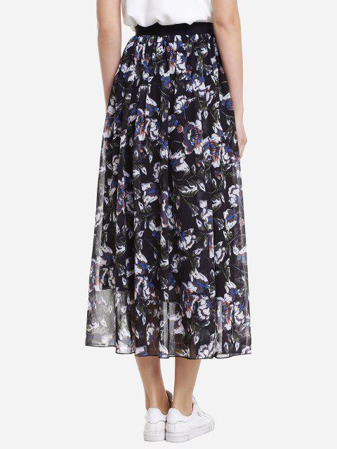 latest ZAN.STYLE Wide Waistband Maxi Skirt - BLACK XL Mobile