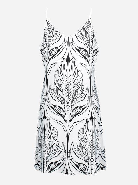 womens ZAN.STYLE V Neck Causal Slip Dress - WHITE AND BLACK XL Mobile