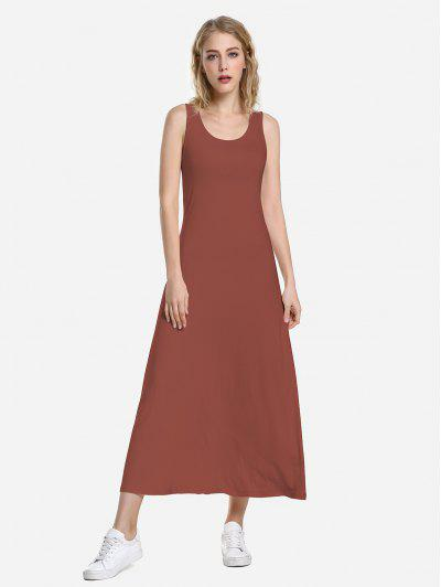 ZAN.STYLE Round Neck Vest Dress - Brick-red M