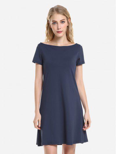 ZAN.STYLE Dolman T-Shirt Dress - Deep Blue M