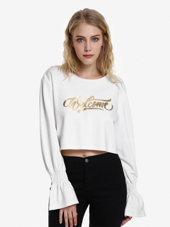 Sweat-shirt Graphique Court à ManchesBouffantes - Blanc M