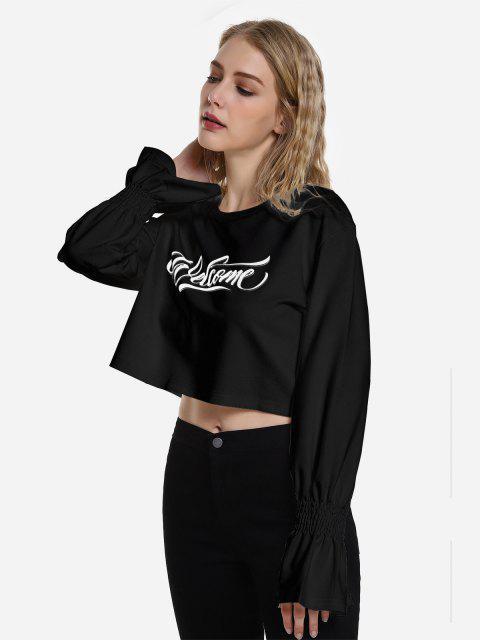 ZAN.STYLE Cropped Trumpet Sleeve Sweatshirt - أسود S Mobile