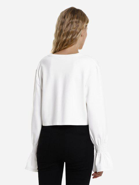 ZAN.STYLE Cropped Trumpet Sleeve Sweatshirt - 白色 M Mobile