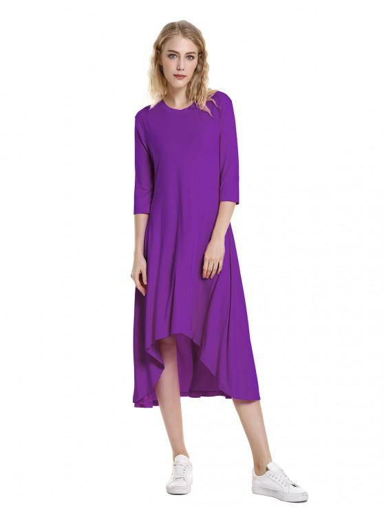 ZAN.STYLE High Low Hem Dress - أرجواني S