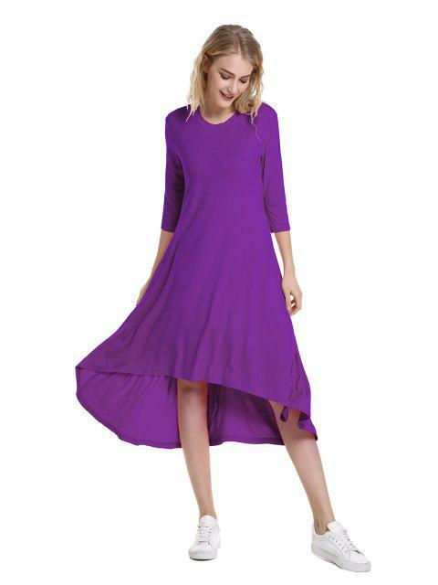fashion ZAN.STYLE High Low Hem Dress - PURPLE L Mobile