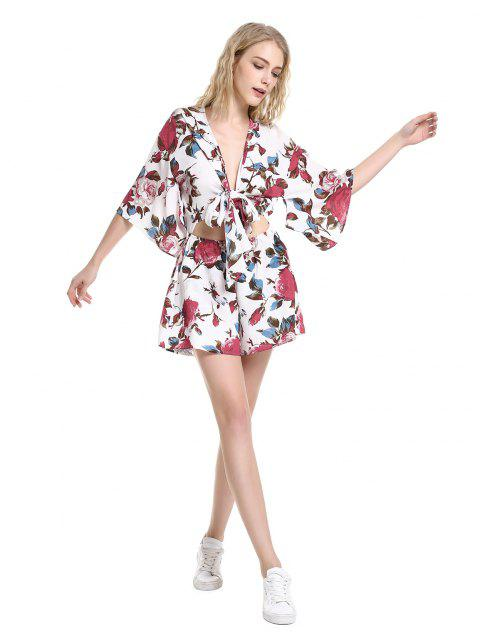 women's ZAN.STYLE Floral Knot Front Playsuit - WHITE XL Mobile