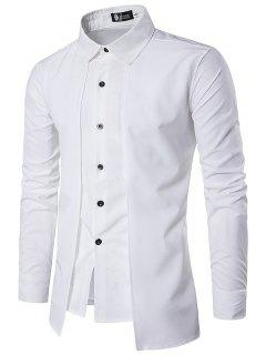 Trendy Business Solid Color Long Sleeve Shirt For Men - White M