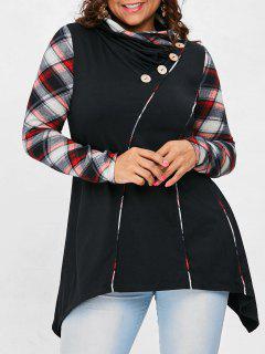 Plus Size Tartan Sleeve Asymmetrical T-shirt - Black 2x
