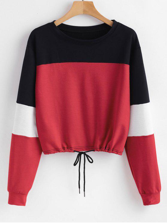 Felpa Pullover A Blocchi Di Colore - Rosso XL