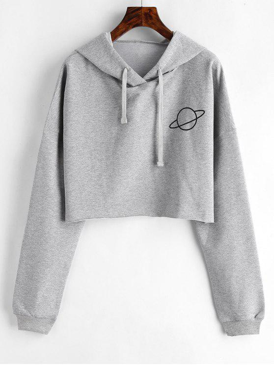 outfit Raw Hem Planet Graphic Hoodie - GRAY CLOUD L