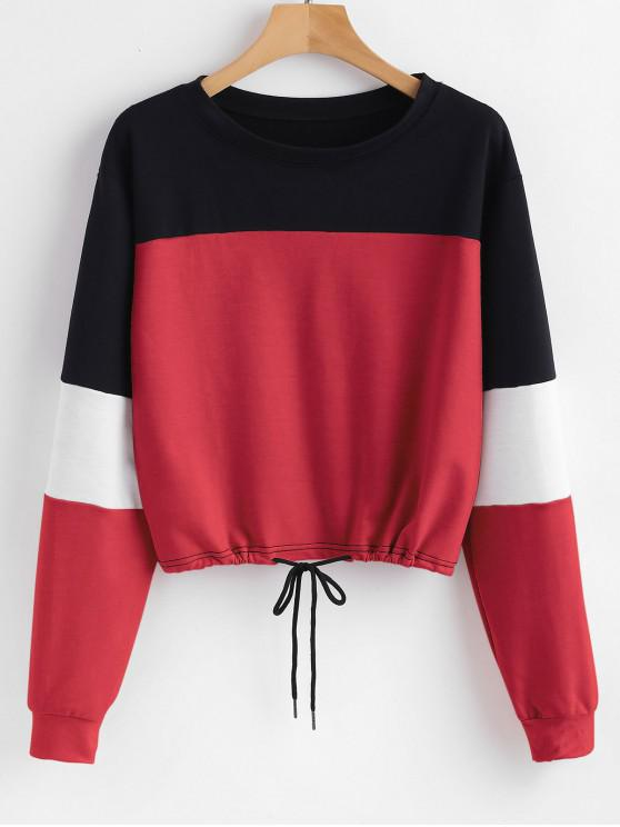 sale Pullover Color Block Sweatshirt - RED XL