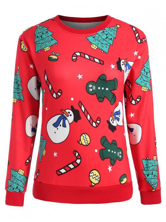 hot Plus Size Christmas Snowman Sweatshirt - RED 3X