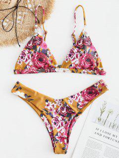 ZAFUL Bikini De Pierna Alta Floral - Amarillo De Autobús Escolar M
