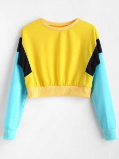 Color Block Cropped Tricolor Sweatshirt - Yellow L