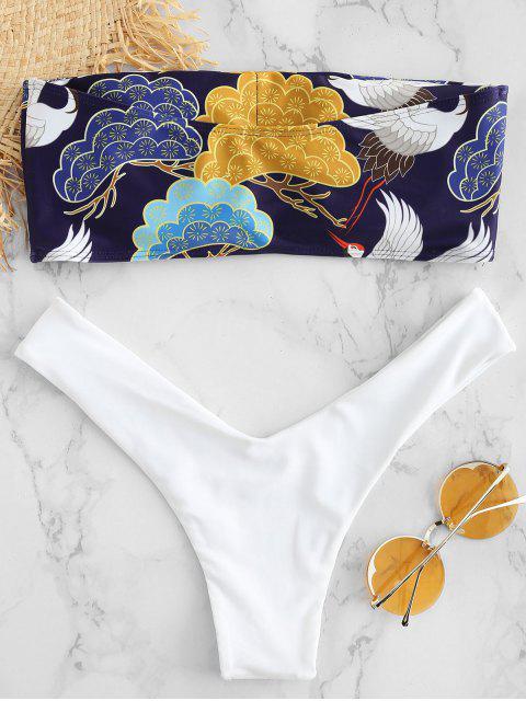 ZAFUL Vogelmuster- Bandeau- Bikini- Set - Weiß L Mobile