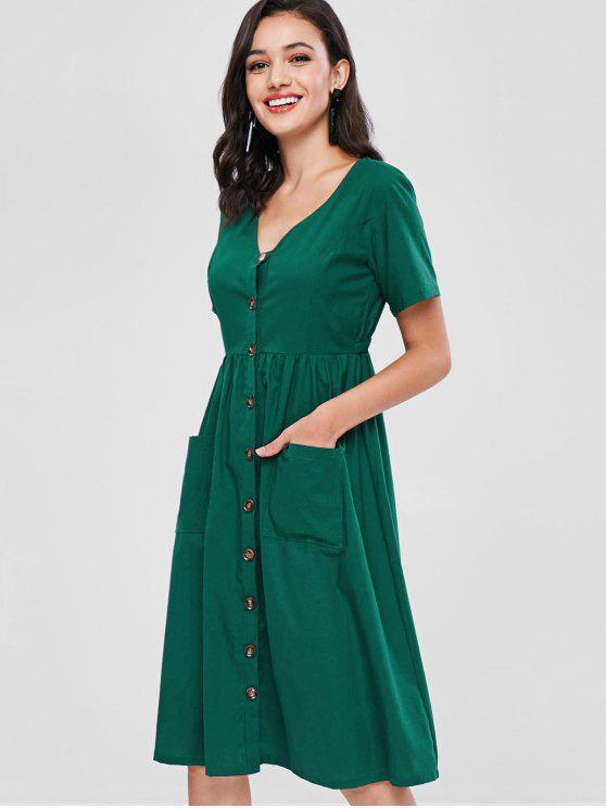 ZAFUL Botão Front Mid Calf Dress - Verde Médio do Mar L