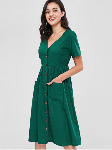 chic ZAFUL Button Front Mid Calf Dress - MEDIUM SEA GREEN L Mobile
