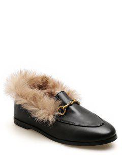 Faux Fur Trim Loafers Flats - Black Eu 35