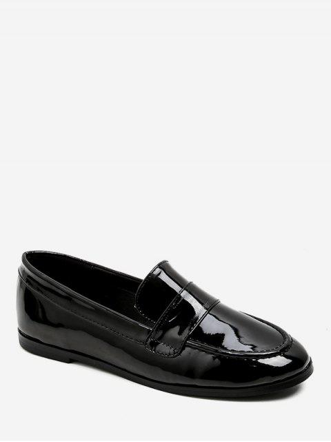 outfits Moc Toe PU Leather Loafers Flats - BLACK EU 38 Mobile