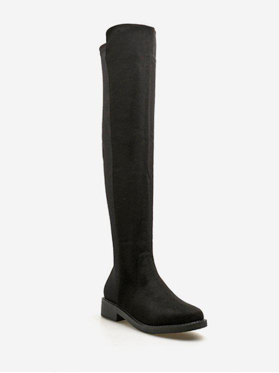 best Round Toe Flat Over the Knee Boots - BLACK EU 36