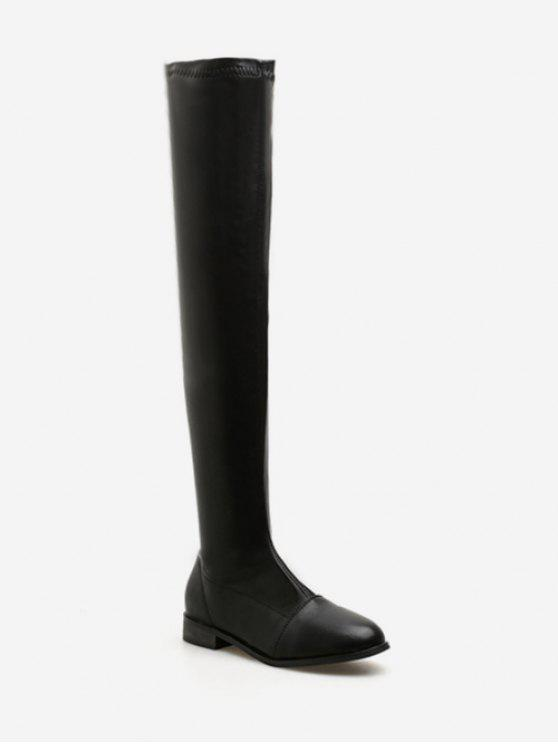 b718c7bdca5 Flat PU Leather Thigh High Boots BLACK