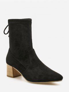 Tie Back Suede Chunky Heel Short Boots - Black Eu 35