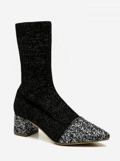 Pointed Toe Sequined Sock Mid Calf Boots - Black Eu 35