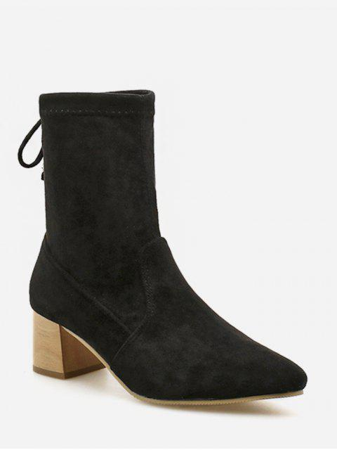 trendy Tie Back Suede Chunky Heel Short Boots - BLACK EU 35 Mobile