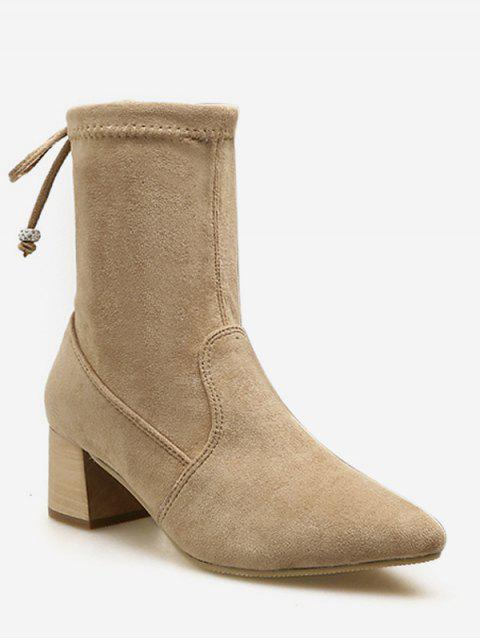 latest Tie Back Suede Chunky Heel Short Boots - APRICOT EU 39 Mobile