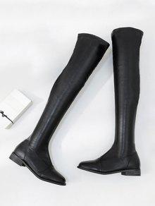 5b890e1197c 32% OFF  2019 Flat PU Leather Thigh High Boots In BLACK