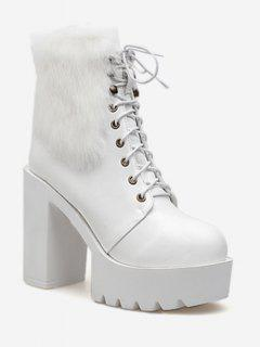 Lacing Platform High Heel Fuzzy Boots - White Eu 38