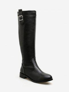 Buckle Decorative PU Leather Knee High Boots - Black Eu 38