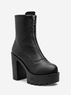 Front Zip Platform High Heel Boots - Black Eu 38