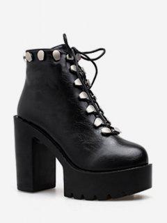 Platform High Heel Studded Ankle Boots - Black Eu 38