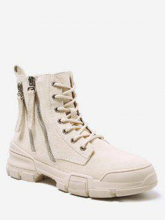 Side Zip Suede Short Boots - Warm White Eu 37