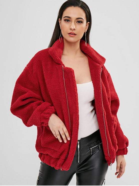 outfits Fluffy Zip Up Winter Teddy Coat - RED M