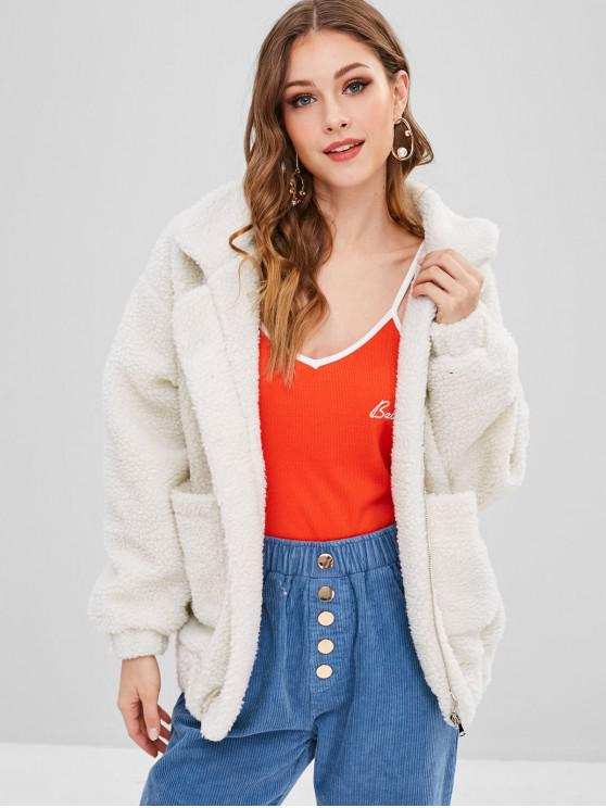trendy Fluffy Zip Up Winter Teddy Coat - CRYSTAL CREAM S