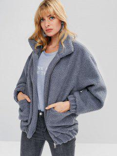 Fluffy Zip Up Winter Teddy Coat - Blue Gray M