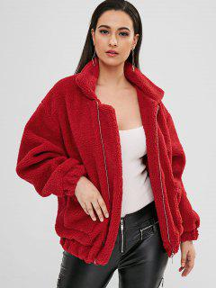Fluffy Zip Up Winter Teddy Coat - Red L